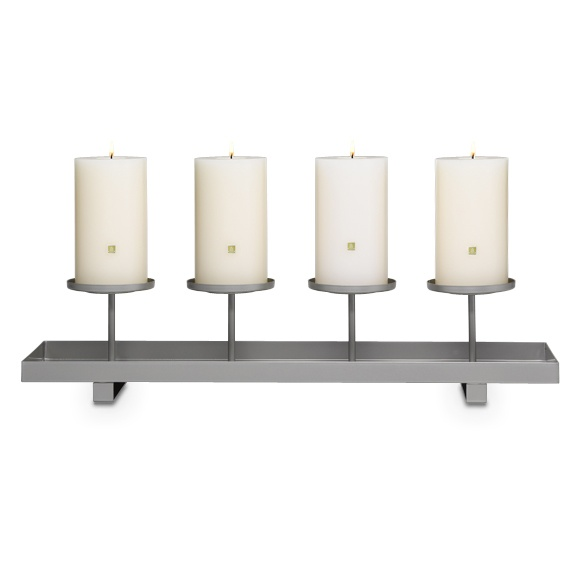 """Simply Seasonal Centerpiece  Linear design and silvertone finish of this classic metal holder mingle into any décor. Change the color of your pillar candles or tealights, sold separately, to suit the season. Add your own decorations at the base to customize the look even more. 4 1/2"""" h, 20 1/2"""" l.  Price:  $45.00 each  $15.00 each"""