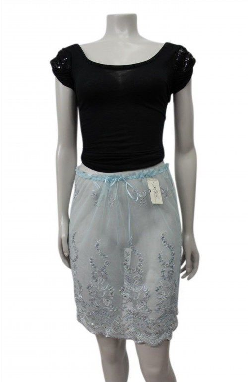 60.55$  Watch now - http://vivhh.justgood.pw/vig/item.php?t=mv7rzt379 - NWT Elspeth Gibson London Blue sheer Lace Scallop skirt Saks 5th Ave $156 size M