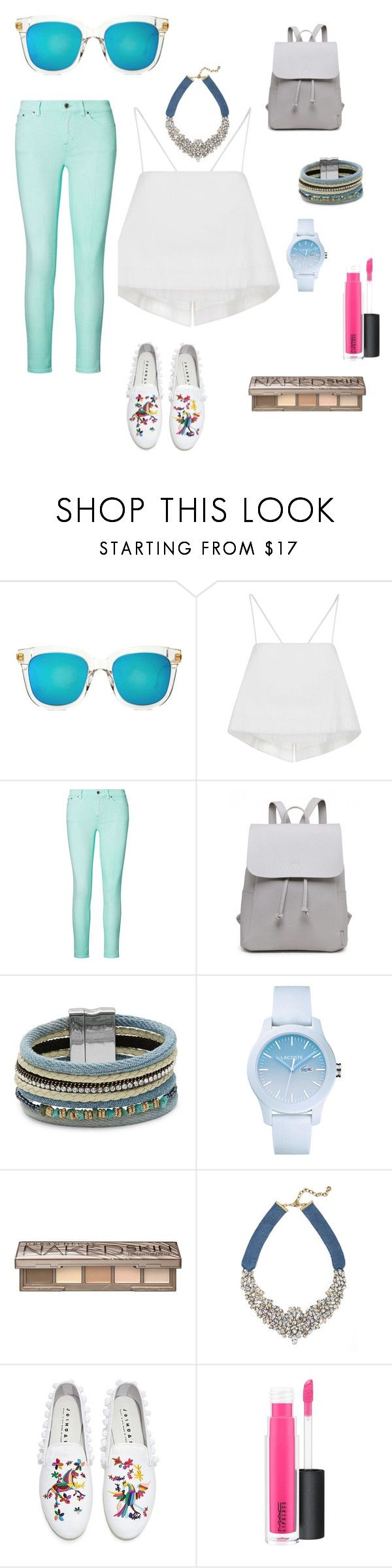 """Fresh and shimmy"" by danny-fernandez ❤ liked on Polyvore featuring Gentle Monster, A.L.C., Ralph Lauren, Design Lab, Lacoste, Urban Decay, BaubleBar, Joshua's and MAC Cosmetics"