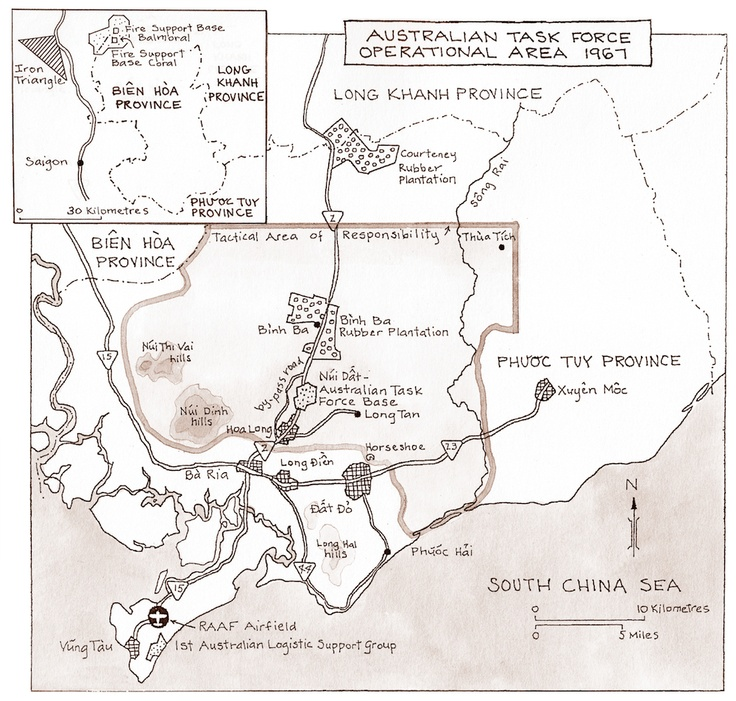 Catherine Gordon 'The Operational Area for the 1st Australian Task Force, 1967.' Ink and pen on cartridge, 29.8 x 21 cm. #kenmcfayden #vietnamoncanvas #sandrafingerlee #vietnamwar #warart #inkandpen #cartridge