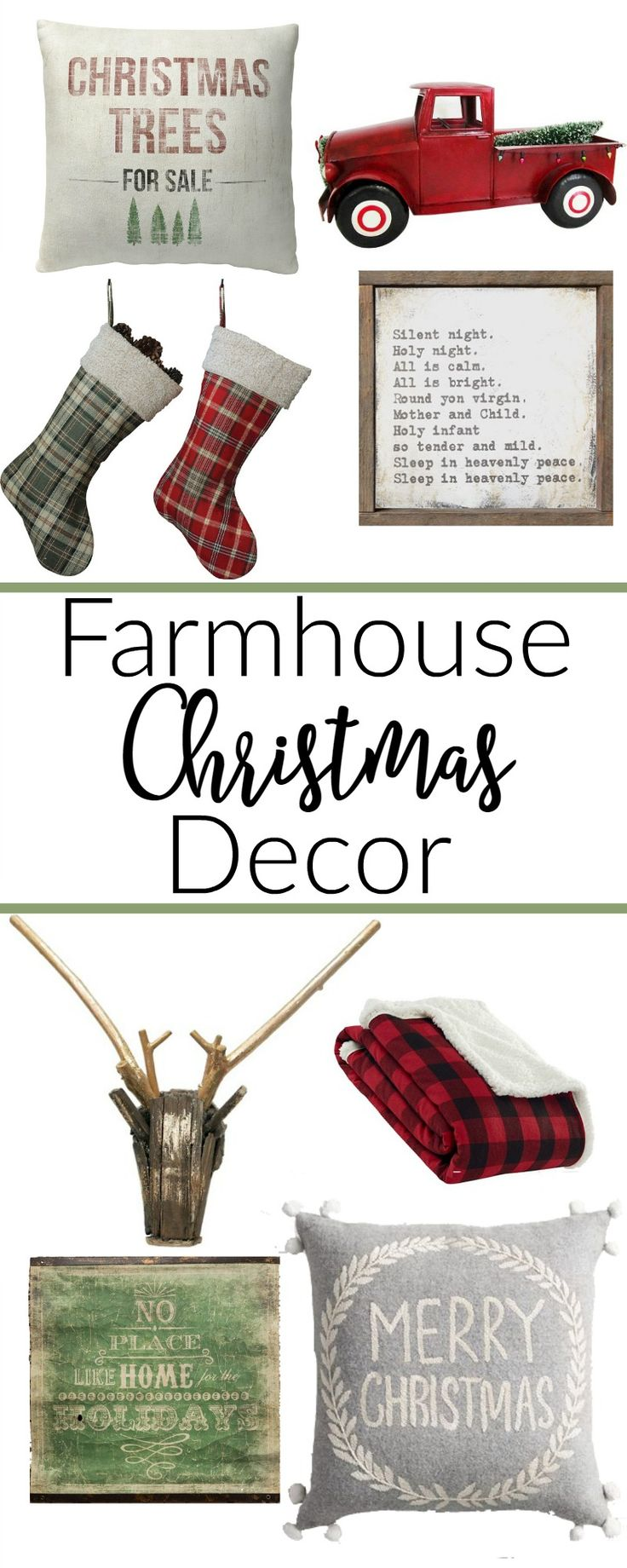 Your shopping guide to all things farmhouse Christmas decor. Put the perfect touch for your Christmas decor, or add a little farmhouse flair to your home.