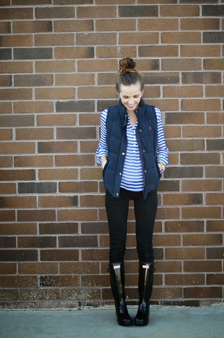 (fall/winter) blue and white striped shirt, blue vest, black pants, black boots