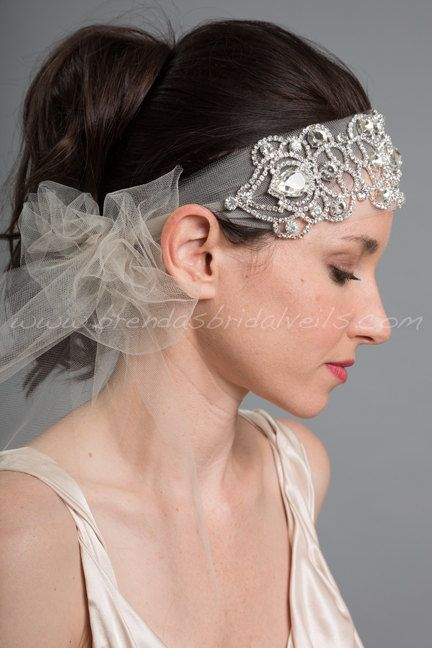1920s Flapper Style Bridal Hairband by brendasbridalveils on Etsy, $89.95
