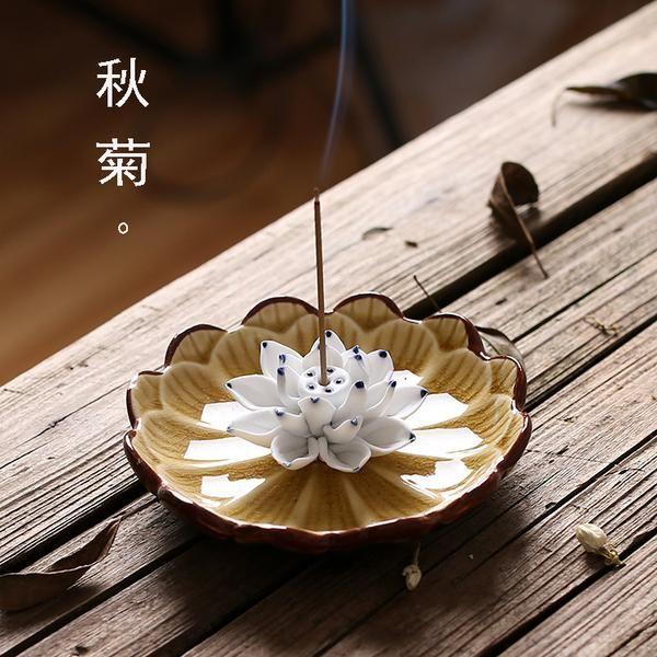 FREE SHIPPING, Jingdezhen Ceramics Lotus Incense Burner Holder Joss  Stick Incense Censer Household Aroma Sticks Disc Aromatherapy Decoration