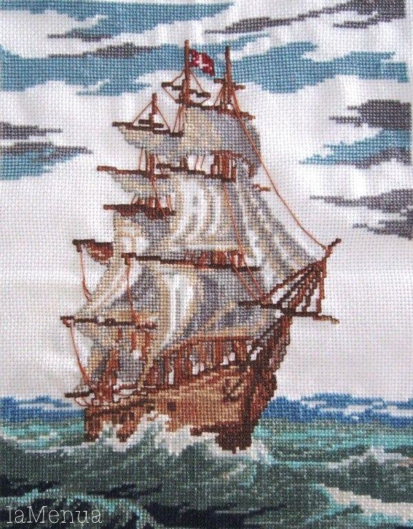 Barco velero punto de cruz