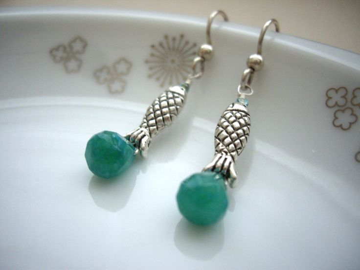 Fish earrings,pisces,green gem stone,briolette stone,unique jewelry,summer Jewelry - pinned by pin4etsy.com