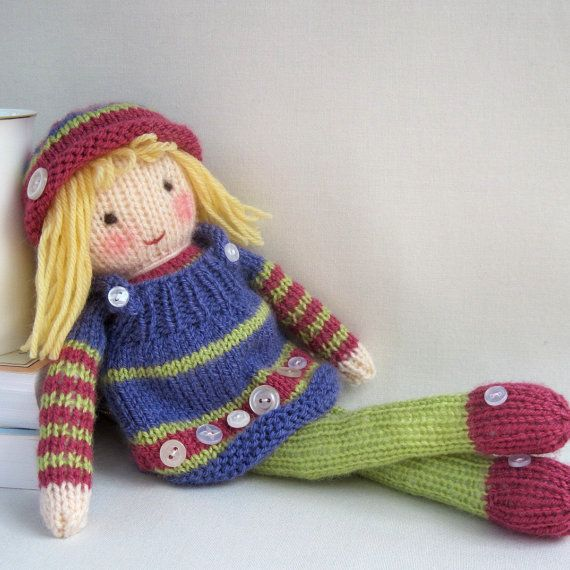 Knitting Patterns For Toy Dolls : Betsy Button - toy doll - PDF knitting pattern email