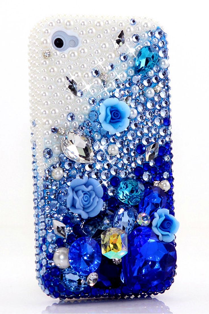 Girly Cute Pearls with Deep Blue Design iPhone 5 5s 5c case for women