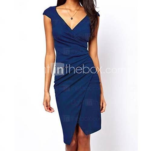 [BRL R$ 41,55] Azul Ruched envoltório Midi Vestido das mulheres