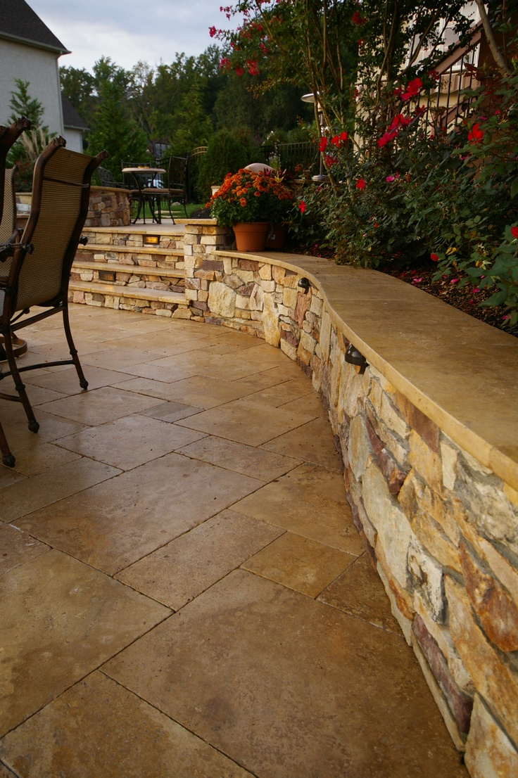 Travertine Cap On Seat Wall Patios In 2019 Backyard