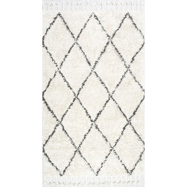 nuLOOM Hand-knotted Moroccan Trellis Natural Shag Wool Rug (6' x 9') - Overstock Shopping - Great Deals on Nuloom 5x8 - 6x9 Rugs