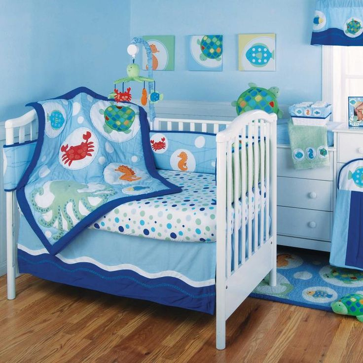Calypso baby crib bedding by kidsline ocean beach fish for Fish crib bedding