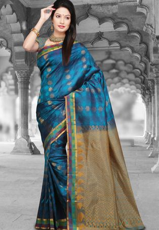 Turquoise Blue Handloom Dharmavaram Pure Silk Saree With Blouse