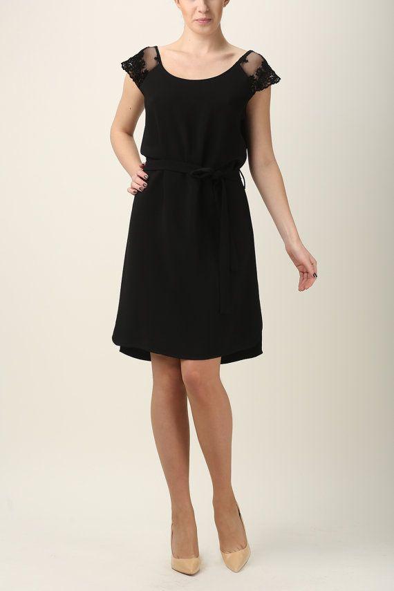 Black dress simple black dress with dress made to by Fanfaronada