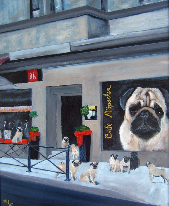 Cafe Mopschen is actually a wonderful real eating establishment located in Witten Germany. It is totally devoted to Pugs. This item is a Print, created