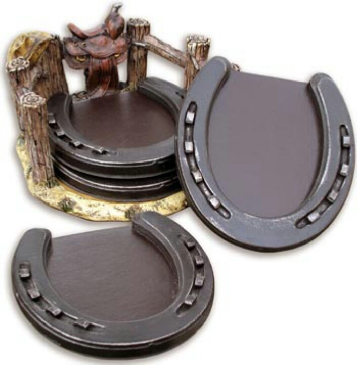 Adorable horseshoe coasters! Use shoes, nail heads, & leather look neoprene on the bottom.
