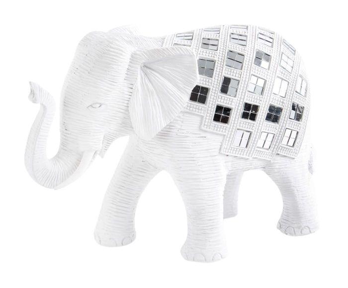 Figura decorativa en resina Elefante - blanco