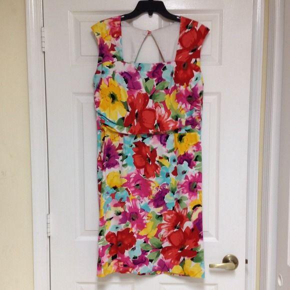 👗 Flower dress by Donna Ricco Vibrant multi-color summer dress Donna Ricco Dresses