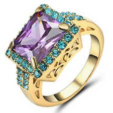 Unique Jewelry - Size 8 Purple Amethyst Wedding Ring yellow Rhodium Plated Women's Jewelry