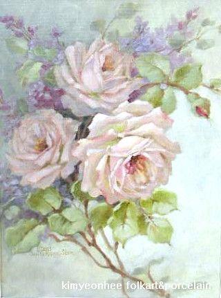 Christie Repasy 의 빅토리안 로즈입니다 화려하면서도 멋진 분위기의 장미를 그리신답니다 그리시는 분의 스타일에 따라서 같은 빅토리안로즈나 쉐비장미도 다르게 나오는 것이 그림의 매력이랍니다 포크아트로 예쁜 장미들을