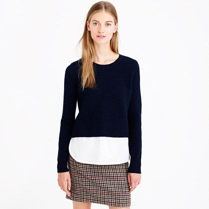 J.Crew - Lambswool shirttail sweater in white. NO DIY, only inspiration for easy refashion.