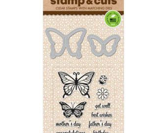 """Hero Arts Stamp & Cuts BUTTERFLY PAIR clear 3""""x4"""" Stamp with metal Die set - DC182 1.cc21"""