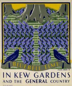 Bluebell time in Kew Gardens underground poster by Margaret Calkin James, 1931