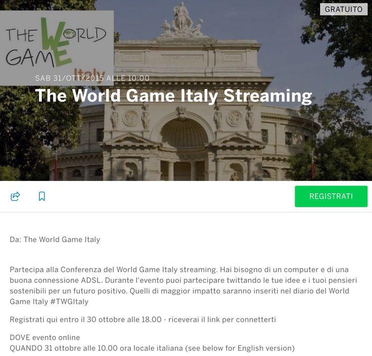Per chi desidera esserci, ma non può venire a Roma, la conferenza The World Game Italy sarà in diretta online. Registratevi al link https://twgistream.eventbrite.it e riceverete un link per connettervi. Abbiamo lanciato #TWGItaly per i nostri tweet. Twittate le vostre idee per un futuro sostenibile. Ne leggeremo qualcuno in diretta e i più belli saranno inseriti nell'e-book del World Game Italy.