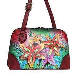 Anuschka Multi Compartment Organizer Purse - Hand Painted Design on Real Leather - Top Quality Handbag (Luscious Lilies)    Trendy, Cute and Luxurious Hand Painted Leather Purses      Hand painted leather purses are truly eye-catching, unique and cool.  In fact they are currently trending like crazy!  Obviously when you combine beautiful hand painted art, on fine quality leather the result is a timeless and charming creation just for you.