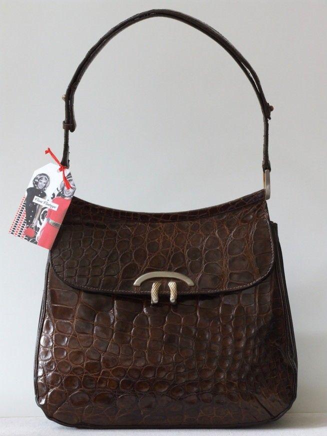 Vintage Stoffen Tassen : Vintage s harrod krokodillenleren schoudertas