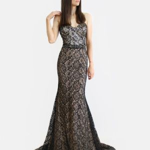 Black crystal stone lace court train gown.