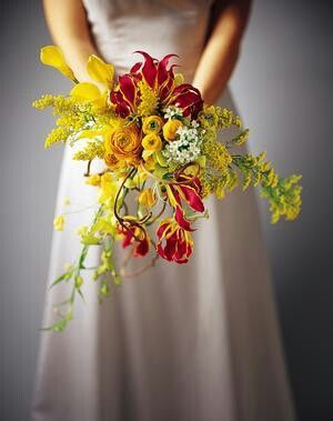 Awesome Bridal Bouquet Showcasing Yellow Ranunculus, Yellow Calla Lilies, Yellow Forsythia Branches, Yellow Solidago, & Red & Yellow Gloriosa Lilies****