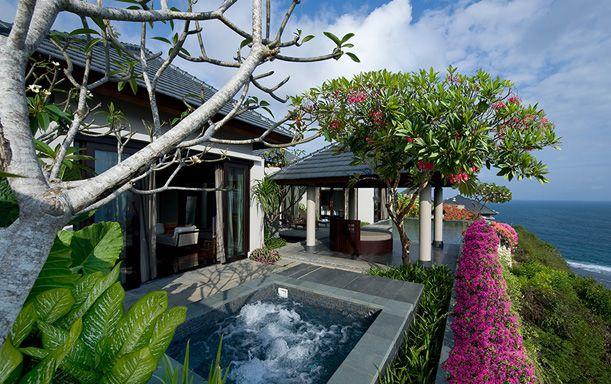 Bougainvilleas as hedging.  Banyan Tree Ungasan Resort, Bali