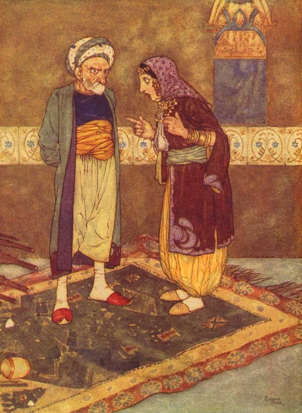 """Edmund Dulac - 'As soon as he came in she began to jeer at him' from ''Ali Baba and the Forty Theives"""" (1907)"""
