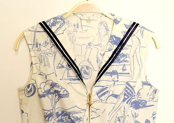 Vintage MCM white blouse with light blue prints and zipper in navy style