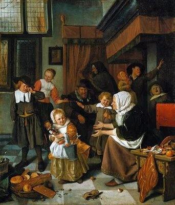 Sint Nicolaas feest van Jan Steen. Kinderen worden afgebeeld als kleine volwassenen maar de huilende man is toch een klein jongetje dat geen kadootjes krijgt. Altijd veel te zien op zijn schilderijen.