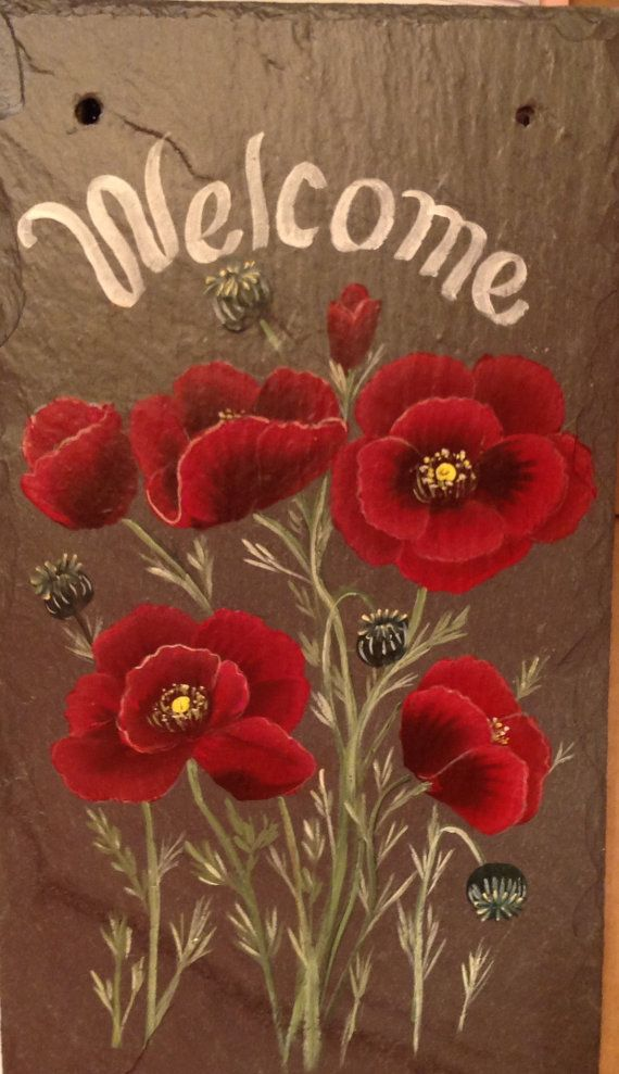 ORIENTAL POPPIES SIGN Slate Welcome Sign Slate by ABeautifulGift