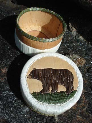 Porcupine quill basket by Sharon John; bear.