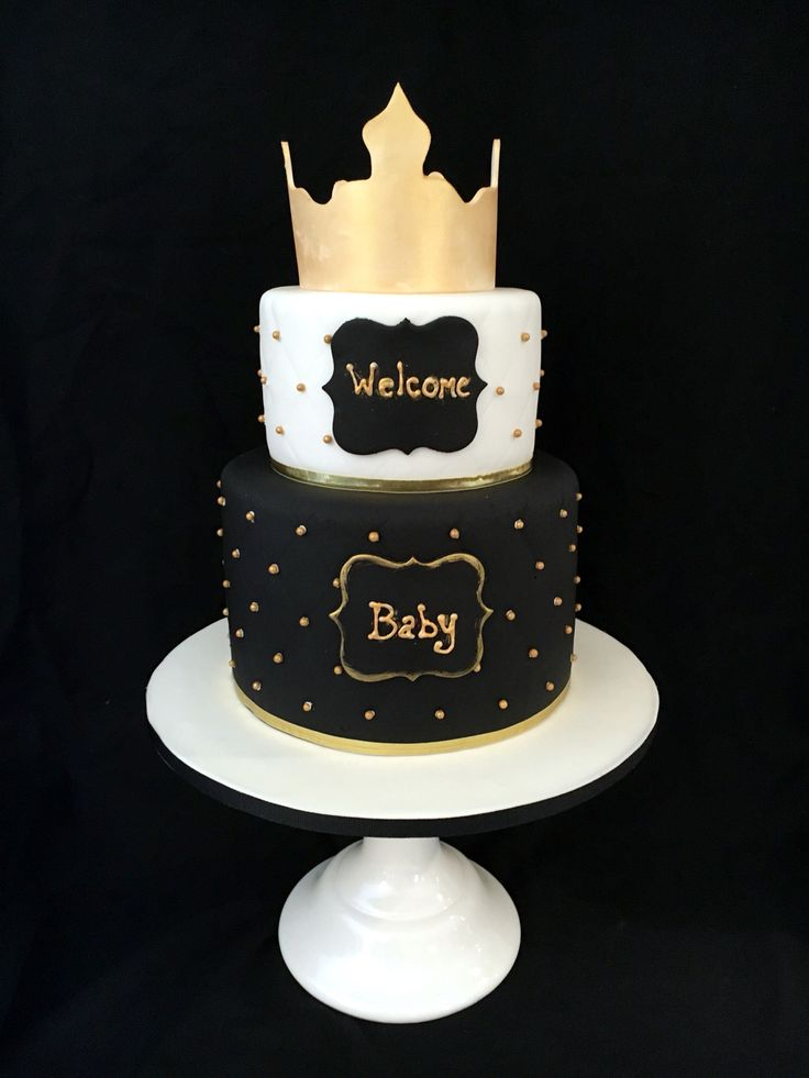 Royal Baby Shower Cake, In Black, White, And Gold, By Amy Hart