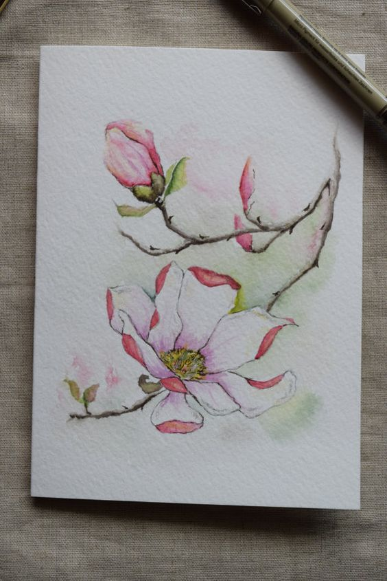 Pink Magnolia Watercolor Painted Card Original by SunsetPeonies: