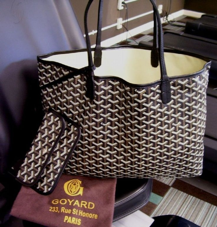 "DREAM Goyard tote in this color and pattern ""Authentic GOYARD Black Saint Louis PM Coated Canvas Tote "" - with black straps, not tan."