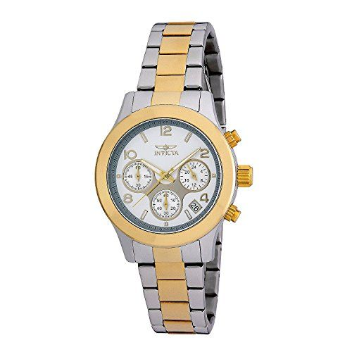 Stainless steel case with a two-tone (silver and gold-plated) stainless steel bracelet. Fixed gold-plated bezel. Silver #dial with gold-tone hands and alternatin...