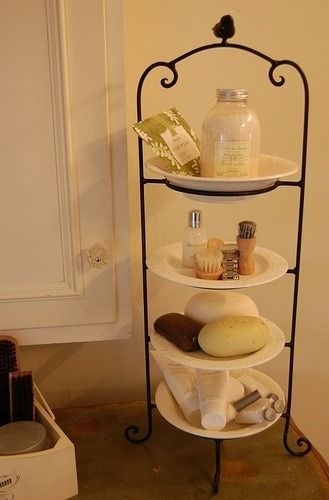 A small bathroom can get clutterred quickly.  A stacked dish rack helps keep things organized, and bumps up your counter space!  You can keep your toothbrush, toothpaste, hairbands, bobby pins and more in one easily accessible space!
