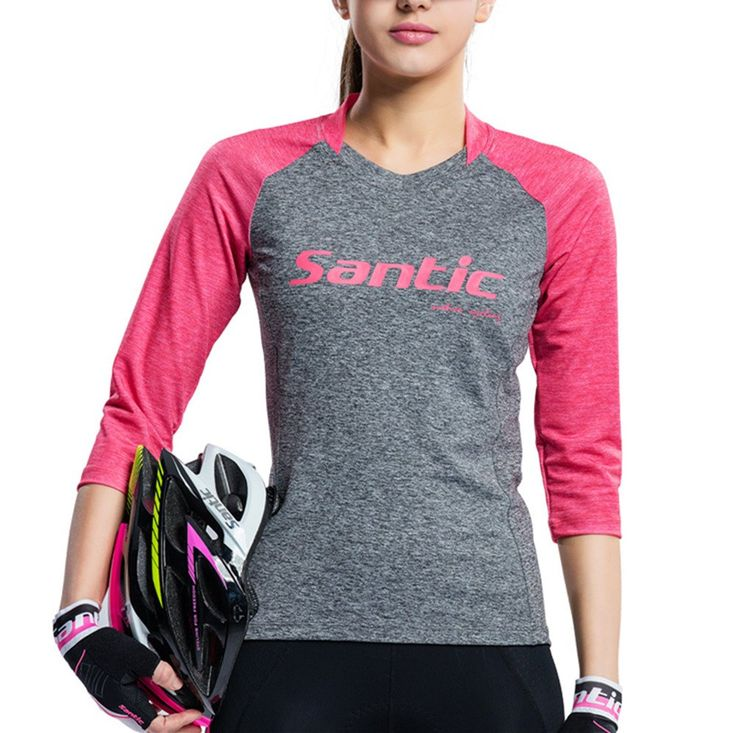 Santic Women's Cycling Jersey 3/4 Sleeve Casual Jersey Semi Fit Pink/Gray Small. NOTICE:In order to make you have a good shopping experience,please CHECK our SIZE CHART carefully before purchasing. POWER-COOL--Santic Power-cool feeling functional fabrics,giving a comfortable sensation. Quick Drying. Moisture Permeability. Sweat-absorbent.