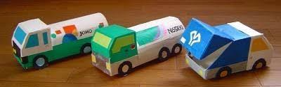 捨てられないもの-花々楽しい日 牛乳パックで働く車を作ってみた