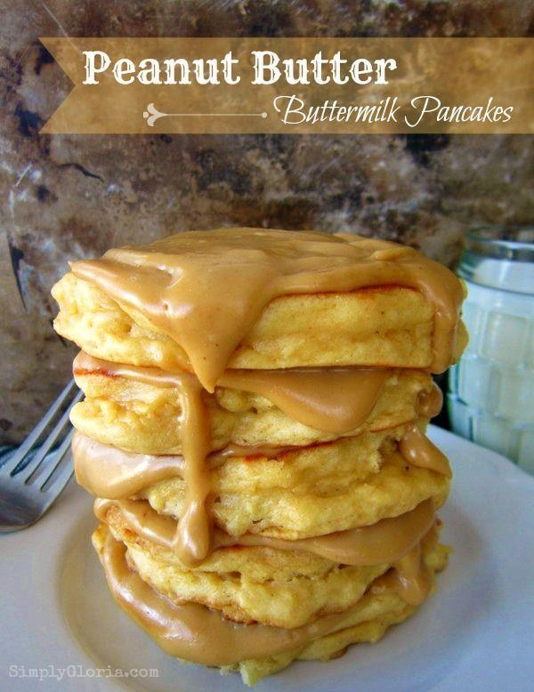 Peanut Butter Buttermilk Pancakes @Simply Gloria