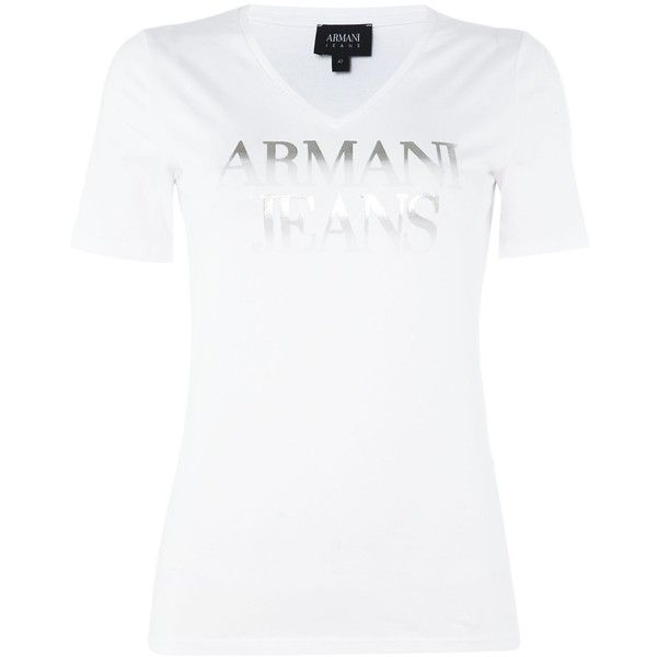 f7a21ba39499 Armani Jeans Short sleeve silver logo tee (€76) ❤ liked on Polyvore  featuring tops, t-shirts, white, women, white short sleeve t s…