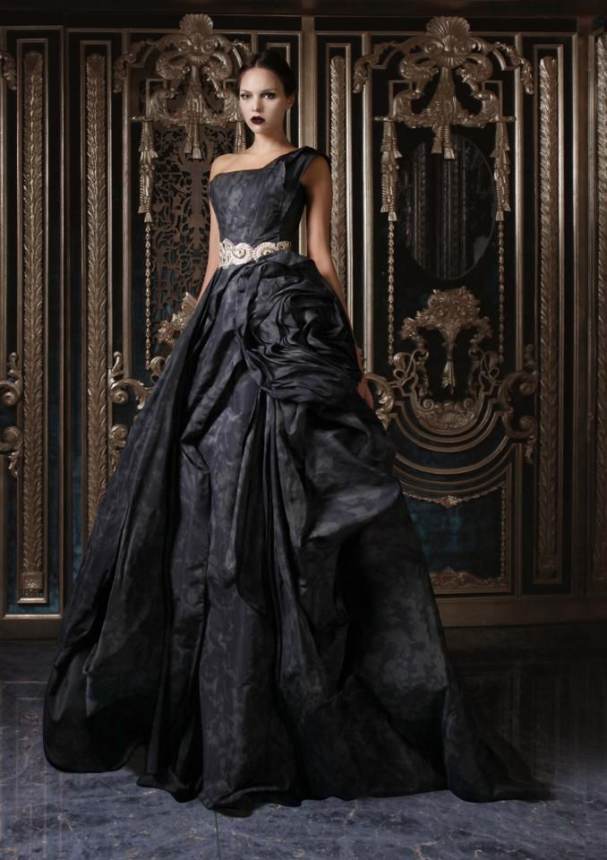 Draped Silk Taffeta Gown with Hand Embroidered Belt (From Rami Kadi's Fall/Winter 2012/2013 Collection)