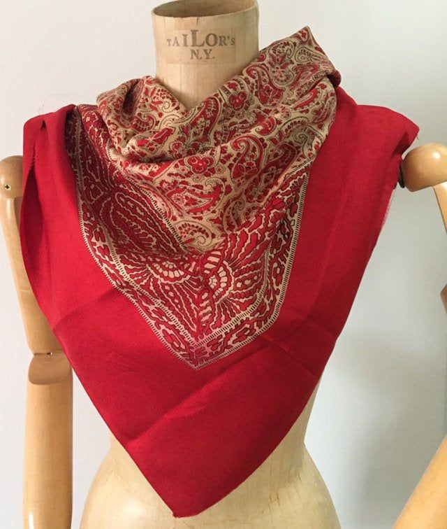 Red vintage silk scarf