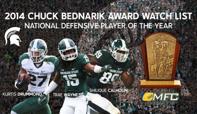 Michigan State junior defensive end Shilique Calhoun, fifth-year senior free safety Kurtis Drummond and junior cornerback Trae Waynes have been named to the 2014 Bednarik Award Watch List, according to an announcement made Monday, July 7 by the Maxwell Football Club. The Bednarik Award has been presented to college football's defensive player of the year since 1995.